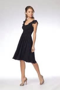 bridesmaid dresses knee length wtoo bridesmaids dress collections black crinkle chiffon flutter sleeve above the knee length