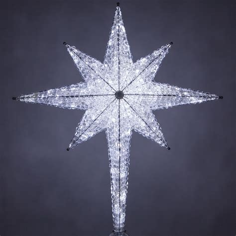 cool tree toppers decorations 48 quot shimmering cool white led 8 point tree topper