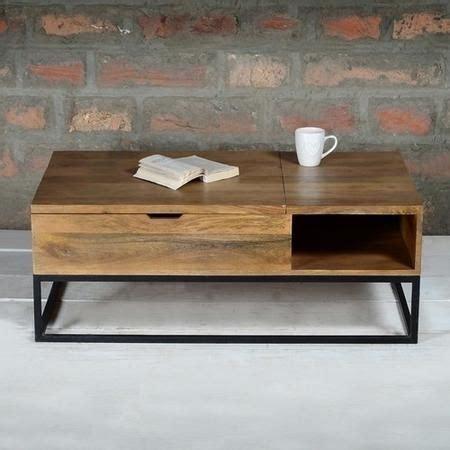 mango wood kitchen table suri industrial modern coffee table with storage in mango