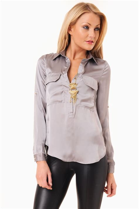 silver blouse maisy satin blouse in silver