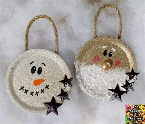 mason jar lid christmas ornaments  keeper   cheerios