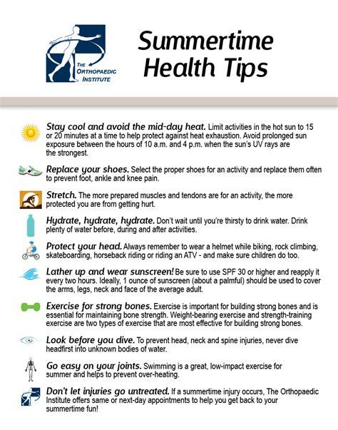 Summertime Health Tips  Health Tips Kfoodscom