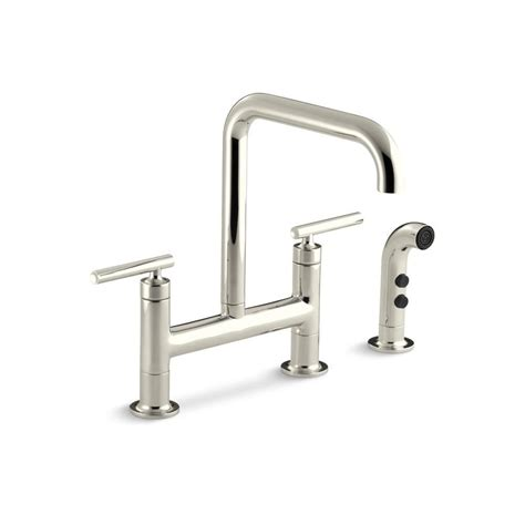 kohler purist 12 in 2 handle deck mount high arc side