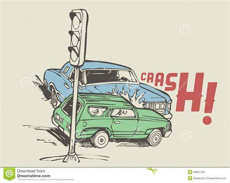 vintage illustration   car crash royalty  stock