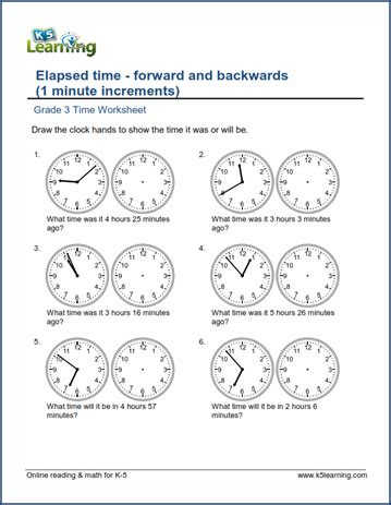 Grade 3 Time Worksheet Changes In Time (1 Minute Intervals)  K5 Learning