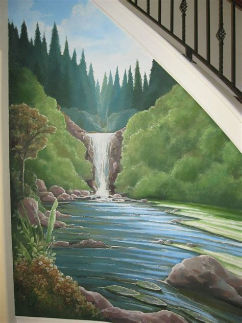 Nature, Waterfall Mural Under A Staircase Www