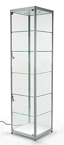 Silver Tower Showcases   Tempered Glass & Aluminum Frame