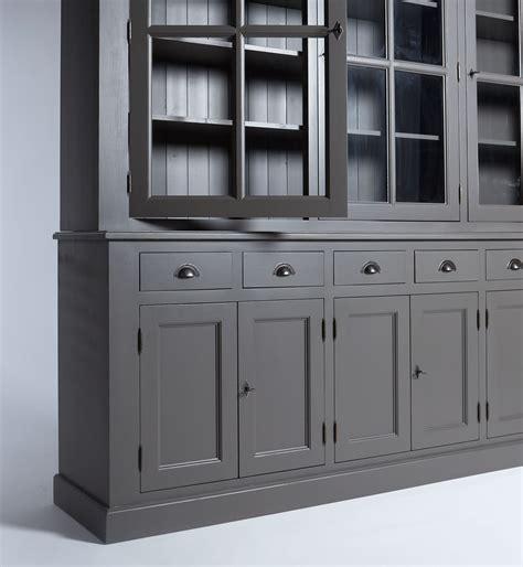 specialiste canape buffet vaisselier bois gris foncé 9 portes 6 tiroirs