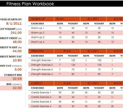 fitness plan workbook  excel templates