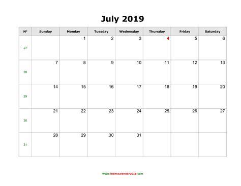blank calendar july landscape