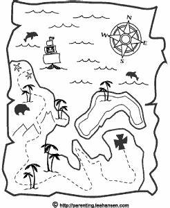 Pirate Treasure Map Coloring Page Printable
