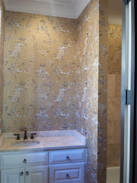 bathroom inspiration toile bath master textured wallcovering slideshow