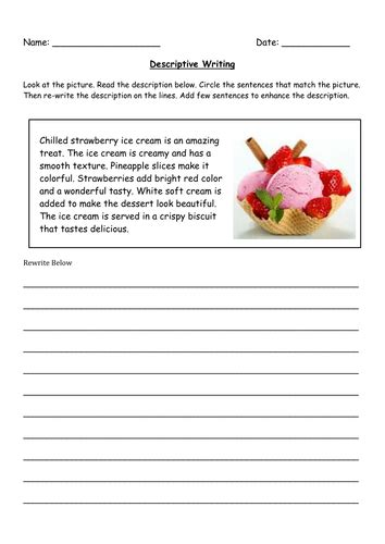 descriptive writing grade 5 worksheet 1 by famafata