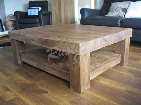 chunky square coffee table chunky 4 leg coffee table with shelf rustic oak