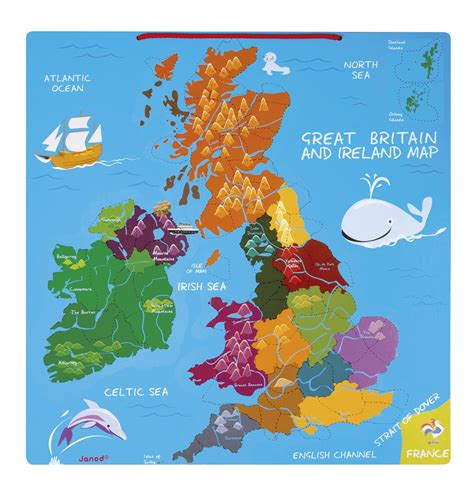 janod magnetic great britain ireland map fun learning