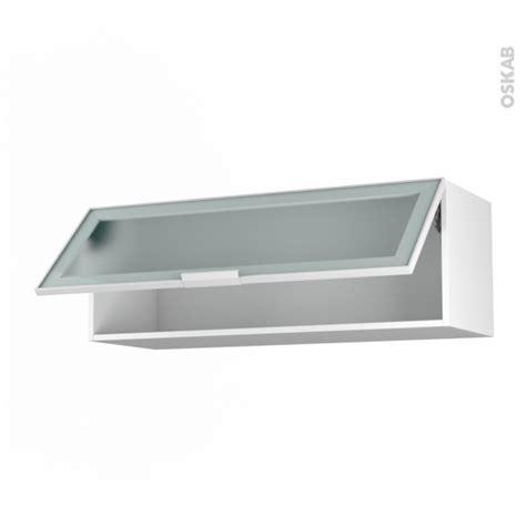 meuble de cuisine haut abattant vitr 233 fa 231 ade blanche alu 1 porte l100 x h35 x p37 cm sokleo oskab