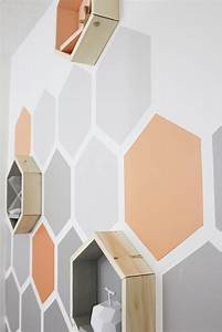 Before and After Geometric Hexagon Wall Thistlewood Farm