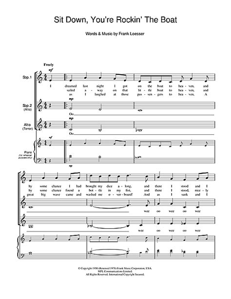 Rockin The Boat Lyrics by Sit Down You Re Rockin The Boat Choral Ssa Sheet Music