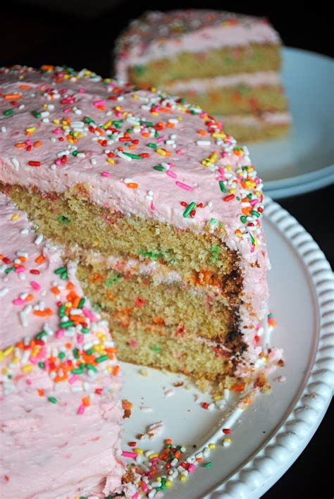 Funfetti Layer Cake With Strawberry Buttercream  Fat Girl