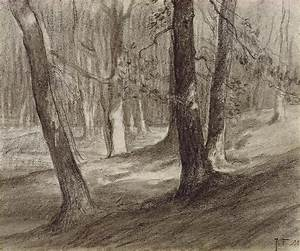Trees In A Forest Drawing by Jean-Francois Millet
