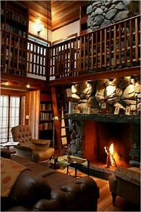 Very cozy library/living room. | Around the House | Pinterest