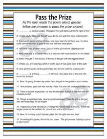 Baby Shower Games Pass the Prize Poem
