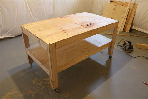 work table plans  wheels  woodworking