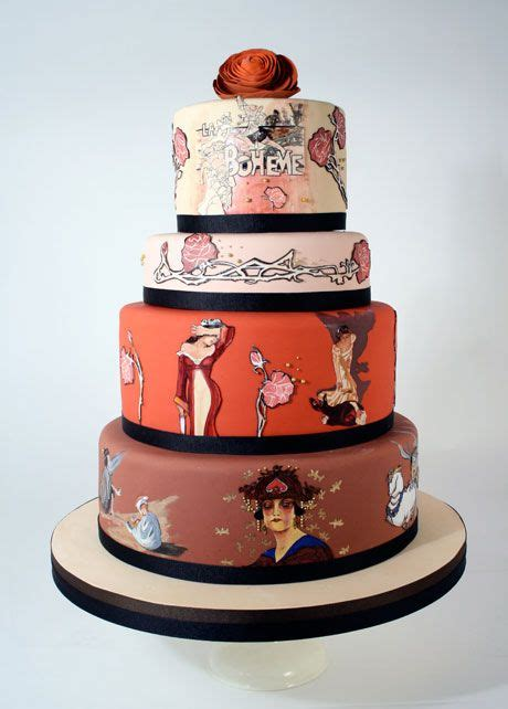 Hand Painted Art Nouveau La Bohème Wedding Cake From Charm