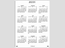2031 Calendar