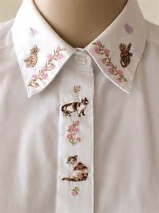 cat collar shirt embroidered cat collar shirt floral embroidery white blouse