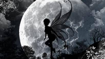 Fairy Fairies Moon Wallpapersafari Monochrome Greyscale