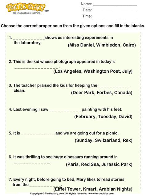 find  missing proper noun worksheet turtle diary