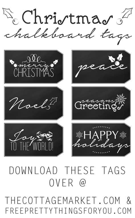 printable christmas chalkboard tags  cottage market
