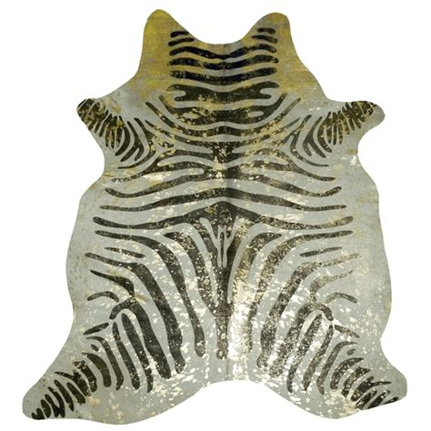 Metallic Zebra Cowhide Rug by Zebra With Gold Metallic Splash Cowhide Large
