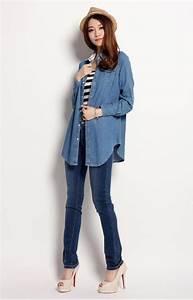 Plus size New Fashion Ladiesu0026#39; shirtAll match womenu0026#39;s casual Denim shirt jeans shirts denim ...