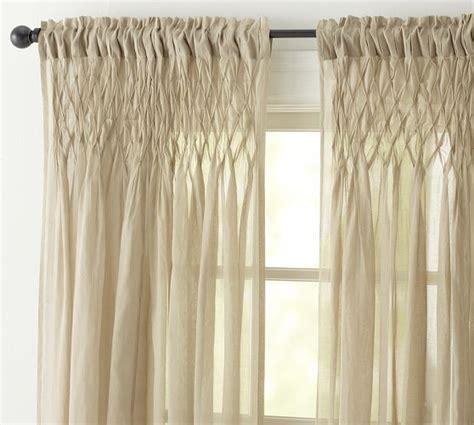 pottery barn curtains sheers smocked drape