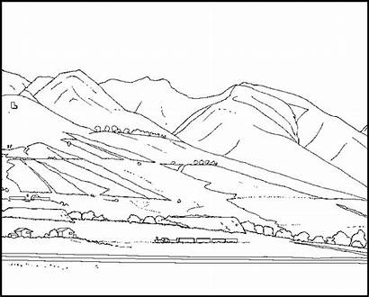 Coloring Mountain Mountains Pages Scene Rocky Maui