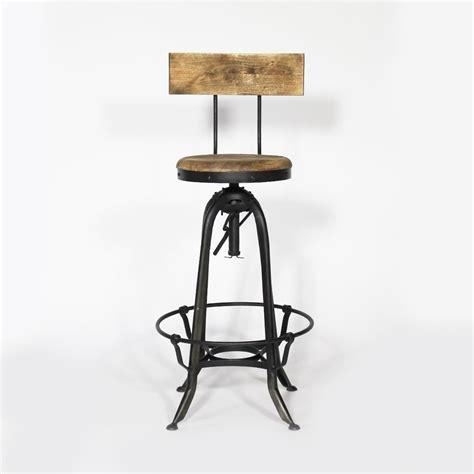 tabouret de bar industriel métal et bois avec dossier