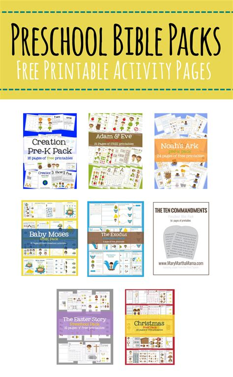 printables martha 238 | Free Bible Printables for Preschoolers Bible PreK Packs of Activities