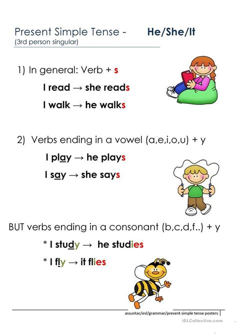 person present simple rules english esl worksheets