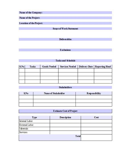 scope of work template 30 ready to use scope of work templates exles free template downloads
