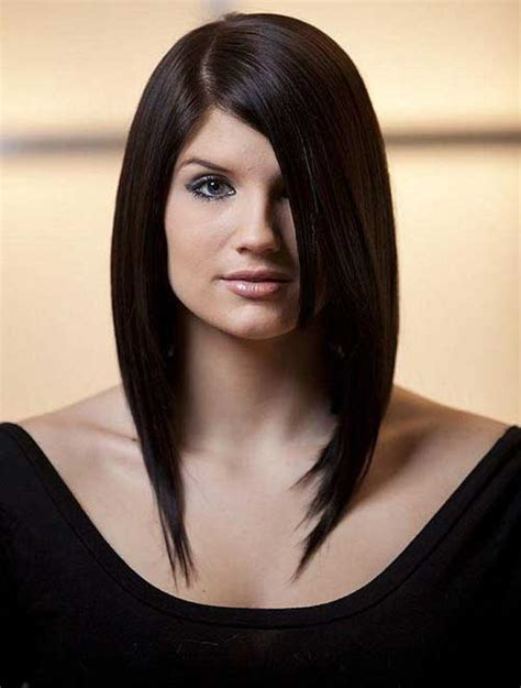 latest long bob  side swept bangs bob hairstyles