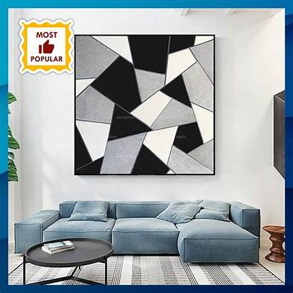 Acrylic Geometric Abstract Painting Glitter Canvas