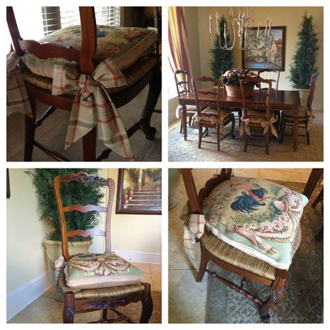 Needlepoint Cushions with tie backs (Roxanne), ladder back
