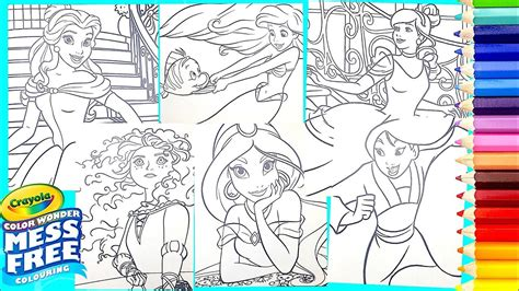 crayola mess  disney princess compilation coloring pages  kids youtube