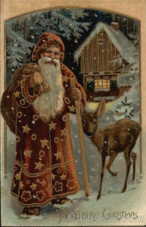merry christmas  fashioned santa  deer santa claus postcard