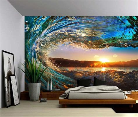 sunset sea ocean wave large wall mural  adhesive