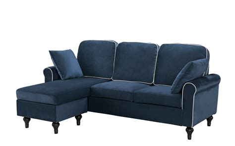 velvet chaise settee blue small space velvet upholstered sectional sofa with