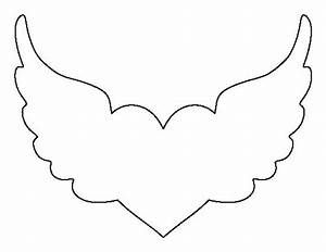 Heart with wings pattern. Use the printable outline for ...