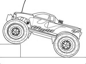 Black and White Monster Truck Coloring Page